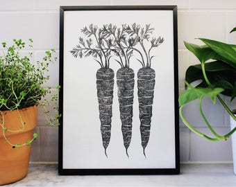 Carrot Lino Print, Handprinted Linocut, Vegetable Print, Kitchen Art, Gifts for Chef, Vegetable Art, Black anc White