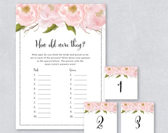 How old were they / Bridal shower game / Blush watercolor floral / Silver Glitter / DIY Printable / INSTANT DOWNLOAD