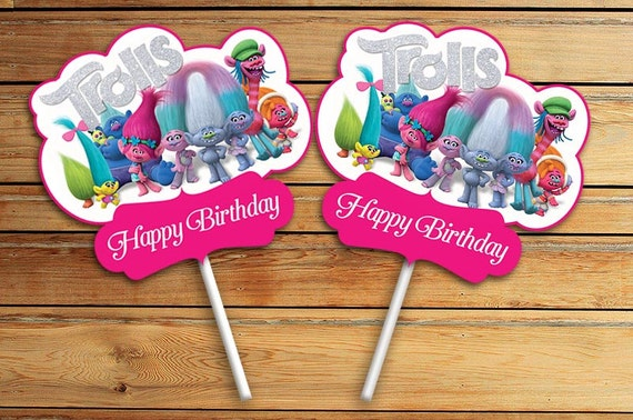 Trolls Movie Birthday Cupcake Toppers