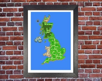 Super Mario Print Digital Pixel A3 Art Print/ Geek Nerd gifts for him her/ Nintendo 1990s Video Game/ Handmade and Printed in Cornwall