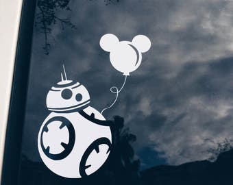 Disney Star Wars BB-8 or R2D2 Holding Mickey Balloon Decal