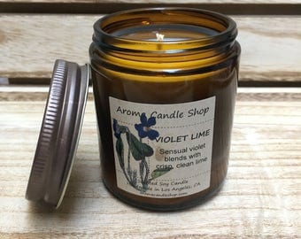 8oz VIOLET LIME Scented Soy Aroma Candle
