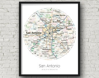 San Antonio Artwork San Antonio Birthday Gift for Him Valentines Day Gift for Girlfriend -Photographed Road Atlas Artwork with Unique Design
