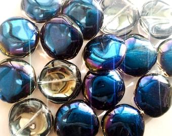 Flat glass beads purple gradient blue Pentagon