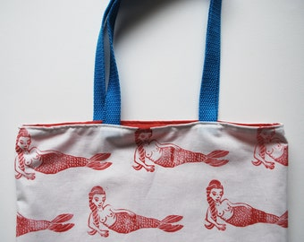 Mermaid Block Printed Pattern Tote Bag // Pink, White & Blue