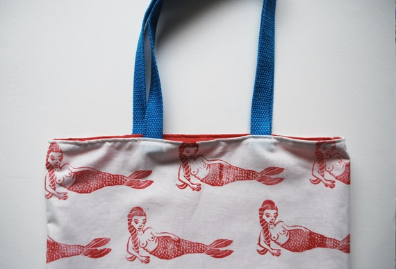 Mermaid Block Printed Pattern Tote Bag // Pink, White & Blue