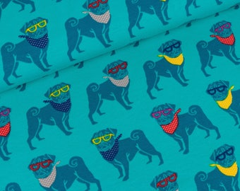 Cotton Jersey Pug Theo Turquoise (15.90 EUR / meter)