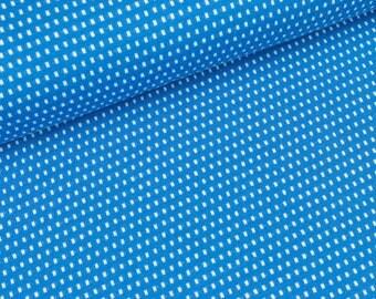 Organic Jacquard Jersey mini rectangles white bluette (18.50 EUR / meter)