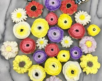 Custom Decorated Flower Cookies
