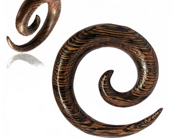 "2ga, 00ga, 1/2"" Handmade Hypnotic Wood Spiral Gauge Plug Organic Earrings"