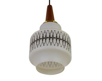 Scandinavian hanging lamp made of milk glass and wood, 1960s