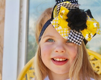 Fabric Bow Bee Bow Bumble Bee Bow Little Girl Bow Baby Toddler Bow Shabby Chic Bow Spring Bow Black Yellow Bow Baby Girl Bow Large Bow