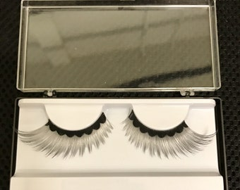Silver & Black Fancy False Fake Eyelashes