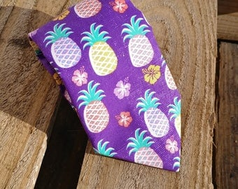 Purple Pineapple Necktie, Hibiscus Necktie, Flower Necktie, Fruit and Flowers, Tropical Necktie, Summer Time Necktie