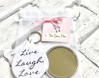 Live Laugh Love, keyring, mirror, cosmetic mirror, inspirational quotes, teacher gifts, hen gifts, bridesmaid, stocking filler, gift set