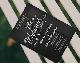 Chalkboard Wedding Invitation - Rustic Wedding Invitation -  Wedding PDF Invitation -  Editable Text -  Downloadable Wedding #WDH0186
