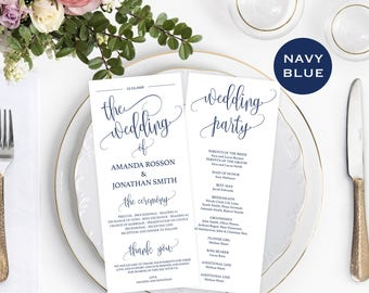 Wedding Program Template - Navy Wedding Program Printable - Navy Blue Wedding Decor - Downloadable Wedding #WDH812229