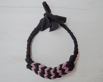 Necklace Black Pink Fingerknitted Salunkhe Webbing