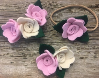 Pink/ cream felt rosettes on headband or clip / flower crown / flower headband