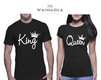 Wainaola King and Queen Couple Tshirts, King Queen Couple T-Shirts, Pärchen Tees, Her King His Queen, Couple Tees, Matching Couple Outfits