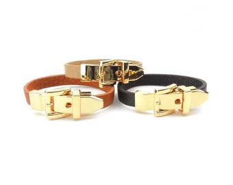 Faux Leather Buckle Bracelet