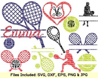 sports balls svg cut file Tennis racket tennis ball player lover monogram frame svg files for Cricut Silhouette svg cutting Dxf cut files