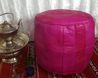 Moroccan handmade traditional pink leather pouf