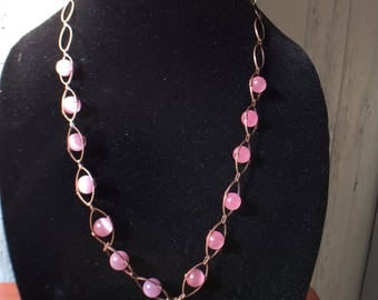 20 inch necklace with Pink catseye on copper chain with matching earrings