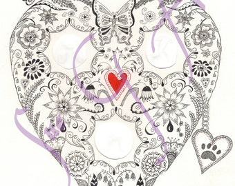 Love Heart Personalised Wedding Anniversary Zentangle Art Print