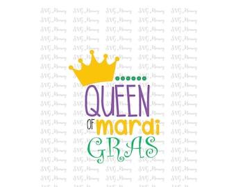 Queen of Mardi Gras, SVG cut file, DXF cut file, Cricut, Silhouette