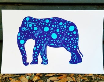 Elephant Dotted - Screen Print (10x16)