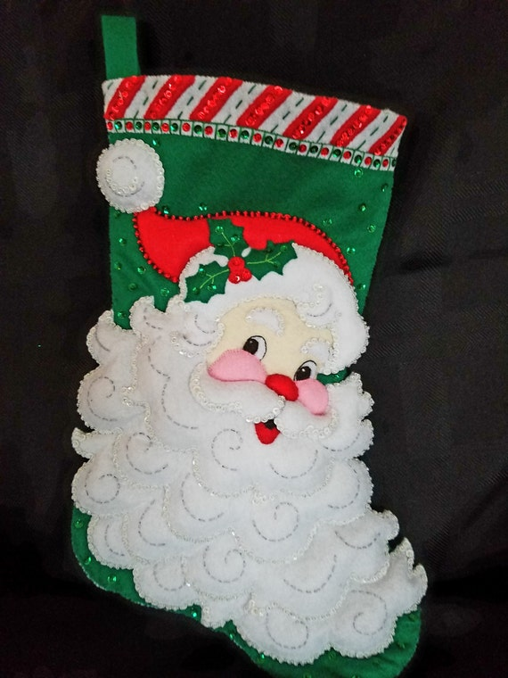 "JOLLY ST. NICK 18"" Bucilla Felt Christmas Stocking"
