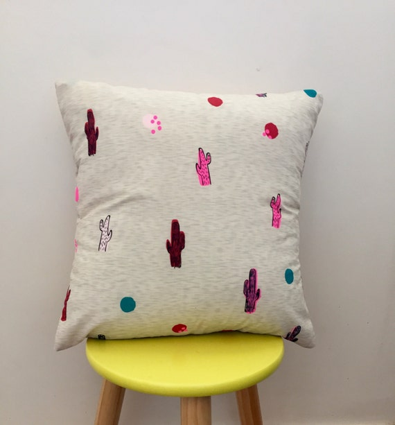 Quirky cactus cushion cover 40x40cm or 45x45cm. Pink, red cactus