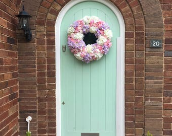Extra large Pink peony with white and lilac hydrangea  door Wreath