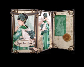 Handmade Unique Oriental Asian Kimono green women birthday Mother's Day get well thinking of you greeting card M060