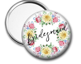 Yellow Rose Bridesmaid 58 mm 2.5 inch Pocket Mirror