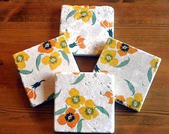 Emma Bridgewater Style Yellow Wallflower Natural Stone Coaster