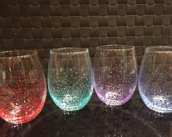 Polka Dot Stemless Wine Glasses-4 Different Colors