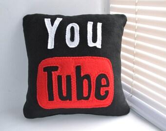 12 x 12 Black Youtube Pillow - handmade pillow - decorative pillow - geekery pillow