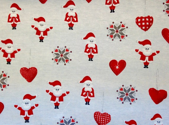SALE - Santa and Hearts Christmas Fabric