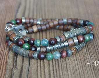 3 laps and collar man bracelet wood, pyrite, Tiger eye and agate 6mm - model JULES