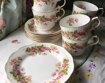 Tea set Queens Rosina bone china six cups, saucers and tea plates wild flowers pattern 1950s made in england