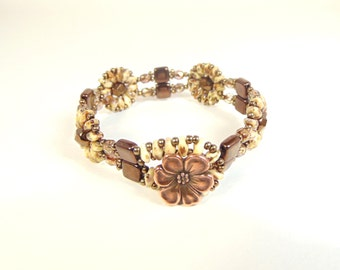 Brown floral motif bracelet with superduos, and Czech fire polished beads