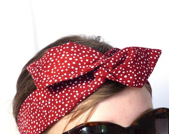 Twist Headband / Hairband - Red Cotton with white dots