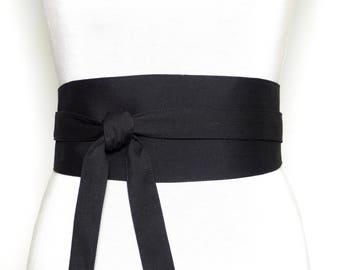 Silk and Wool - Reversible Black Obi Belt, Wide wrap belt, Waist belt japanese kimono cincher corset asian
