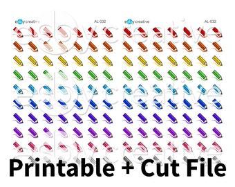 Rainbow Coloring Pencils - Printable Planner Stickers + Cut File - AL-032 - INSTANT DOWNLOAD