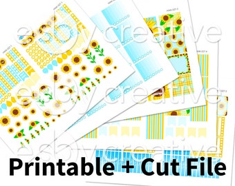 Sale - 25% Off! Sunflower Theme - Weekly Sticker Kit Printable for Erin Condren Horizontal - HWK-027 - INSTANT DOWNLOAD