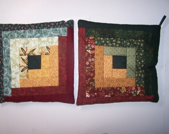 Quilt Block Hot Pad / Trivet / Pot Holders, Set of 2  (lot #1 A&B)