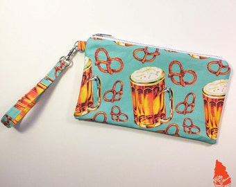 Beer & Pretzel Pattern Clutch