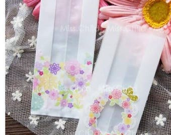50pcs/lot 5.5*13.5cm White Colorful Flowers DIY Baking Cookie Biscuits Package Plastic Bags Food Candy Gift Packaging Bags